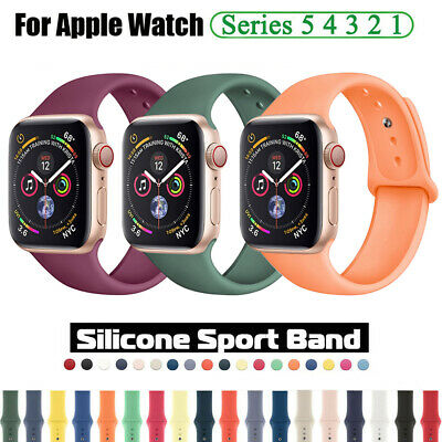 38 40 42 44mm Silicone Sports Band Strap for Apple Watch iWatch Series 5 4 3 2 1