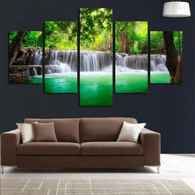 5 Panel Waterfall Canvas Print Painting Art Wall Picture Home Decor Unframed s