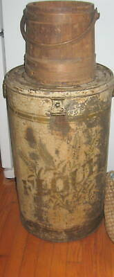 Amazing Lg.antique Country Store Tin Says Flour Best Lettering Old Paint Aafa Nr