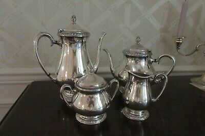 4-Pc HENLEY Oneida Community Silverplate TEA SET Coffeepot Teapot Sugar Creamer