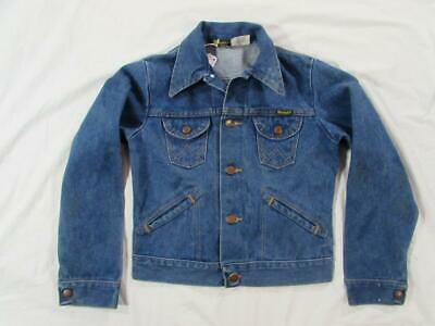 Vtg 70s Boys Wrangler Faded Denim Trucker Jacket Size 14 4 Pocket USA Made
