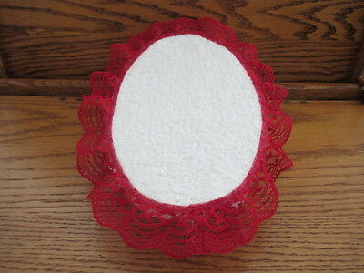 """9""""x6"""" DOLL BED DISPLAY PROP 4 OOAK BABY SOFT FABRIC COVER METAL FRAME LACE TRIM"""