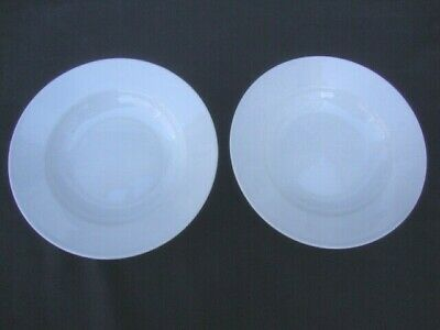 """Two WILLIAMS SONOMA White Everyday Dinnerware Rimmed Soup/Cereal Pasta Bowl 9"""""""