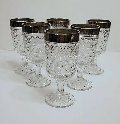"""Set 6 Anchor Hocking Wexford Water Goblets Cups 6 5/8"""" w/ Chrome Rim Silver Tone"""
