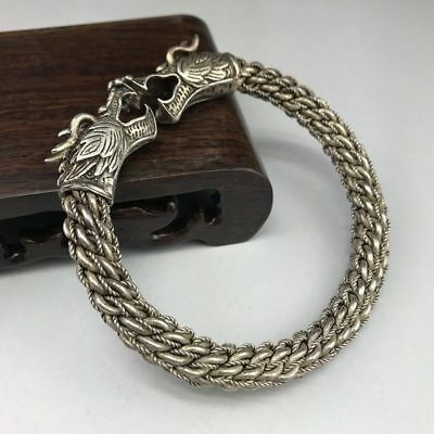 Old Chinese Wonderful Handwork Miao Silver Dragon Bracelet