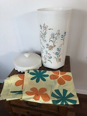 Mid-Century Modern MCM Floral Hard Plastic Laundry Clothes Hamper By Wolff