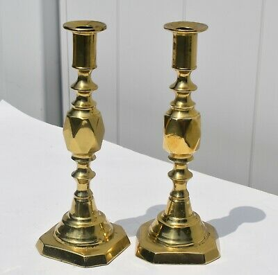 Antique Very Heavy Pair Of Bronze Hand Made Candlestick