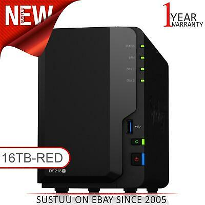 NEW! Synology DiskStation DS218+ 16TB (2 x 8TB WD RED) 2 Bay Desktop NAS Unit