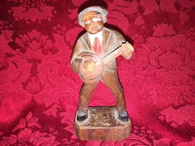 A Wonderful German Hand Carved Man With Banjo/Mandolin Figurine