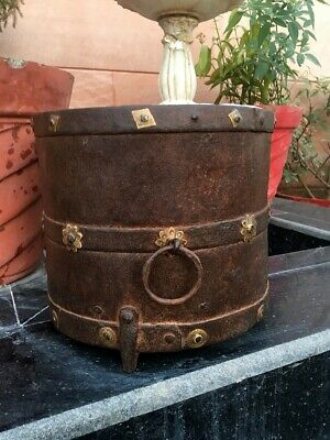 Antique Old Iron Hand Forged Brass Work Big 9.5 x 9 Inch Grain Pot Planter Pot