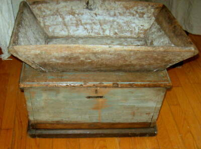 Excellent Antique Chest W/ Drawer Best Old Blue Paint Handmade Dovetail Aafa Nr