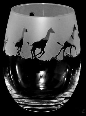 GIRAFFE Frieze Boxed 36cl Crystal Stemless Wine / Water Glass