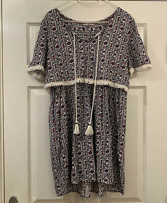 TU Cream Red Blue Printed Summer Dress French Style holiday Size 12 Boho Tunic