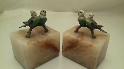 Vintage Art Deco Cold Painted Budgerigar Marble Book Ends
