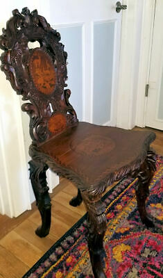 Antique Black Forest Hand Carved + Marquetry Chair ~ Chamois / Ibex Goat / Fox