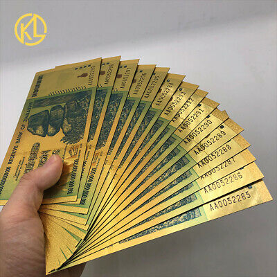 100pcs Running Number One Trillion Zimbabwe Dollars Gold Banknotes with 10 COA