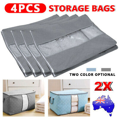 4X Clothes Storage Bag Quilt Blanket Bamboo Charcoal Organizer Foldable Zipper