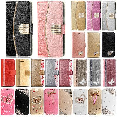 Bling Glitter Crystal Diamond Leather Wallet Flip Phone Case Cover For Samsung