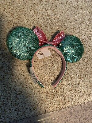 Disney Parks Minnie Mouse Ears Headband Teal with Pink Bow Sequin New w Tags