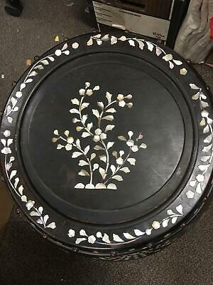 "Mother-Of-Pearl Inlaid Wood Drum Stool 20"" Tall Floral Motif"