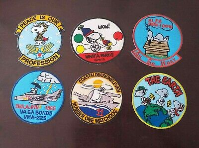 6 Snoopy Cartoon Cute Circle Character Beagle Dog Embroidered Patch Iron Sew on