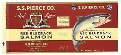 S. S. Pierce Co, Red Label, Red Blueback Salmon *AN ORIGINAL TIN CAN LABEL* i37