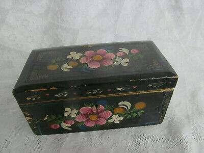 Sweet Wooden Black Trinket Box w/Hand Painted Flowers~Jewelry Dresser Treasure