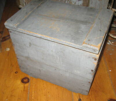 Handsome Antique Primitive Milk Box  Excellent Old Blue Paint Aafa Nr