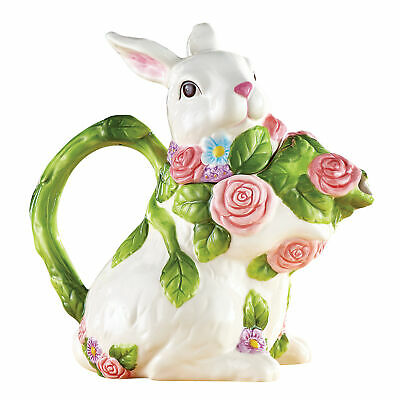 Floral Accented Easter Bunny Teapot with Removable Lid
