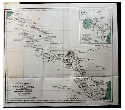 1882 Caravan Routes - MASAI COUNTRY - Victoria Nyanza - MNT KENYA - COLOR MAP 12