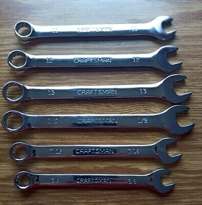 Craftsman FULL POLISH 6pc SAE & METRIC INCH MM  Combination Wrench Set New WOB