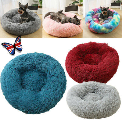 Pet Dog Cat Sleeping Warm Plush Calming Kennel Bed Round Nest Comfy Cave Home UK