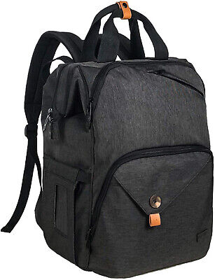 Baby Diaper Backpack Waterproof Nappy Bag  for Newborn Mother/Father Dark Grey