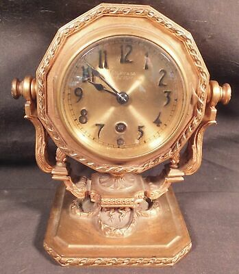 Antique Tiffany & Co. Gold Dore' Bronze Desk Clock, Chelsea Clock Movement, Runs