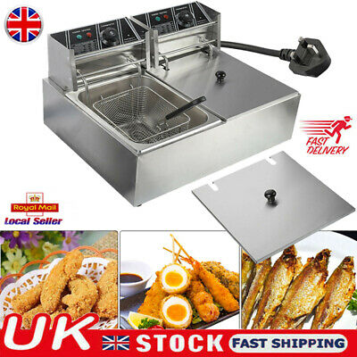 5000W 2*10L Commercial Electric Deep Fat Chip Fryer Dual Tank Stainless Steel UK