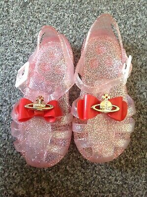Baby Girls Orb Jelly Sandals Dress Beach Size 5 Shoes Pink Red Bow Glitter