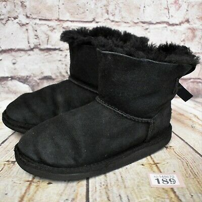 Junior UGG Australia Black Mini Bailey Bow Sheepskin Boots UK 2 EUR 33 1005497K
