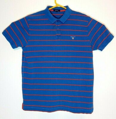 Gant Mens Size Large Blue Orange Striped Polo Shirt