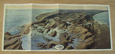 """Antique 1913 MAP~""""The PANAMA CANAL""""~Bird's-Eye-View~Panoramic~"""