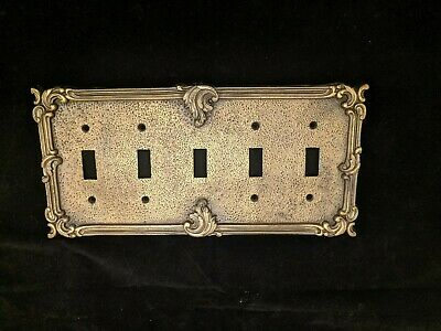 "60's Vintage American Tack Antique Solid Brass (1)  5 gang Switch Plate ""Rare"""