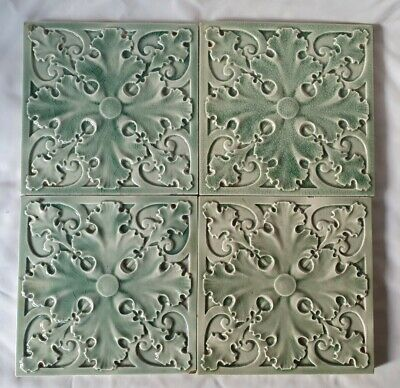 Stunning Craven Dunnill English Antique Celadon Tile. Striking Tone. 4 Available