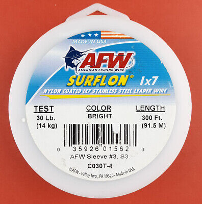 AFW SURFLON Coated Stainless Wire 20lb Test NEW 30/' LENGTH #C020B-0