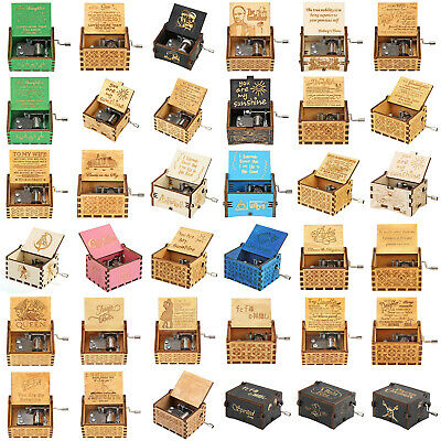 Retro Vintage Music Box Wood Hand Cranked Music Box Home Crafts Ornaments Gifts