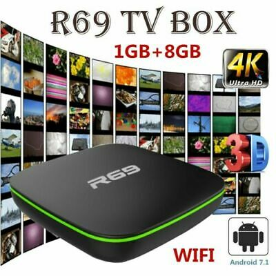 R69 Smart 4K UHD TV Box Quad Core 2.4GHz WiFi Android7.1 3D Media Streamers