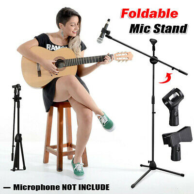 Professional Boom Microphone Mic Stand Holder Adjustable With 2 Free Clips UK OO