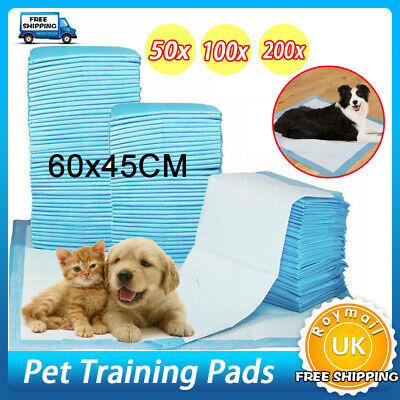 50/100/200 Absorbent Large Puppy Training Pads Pet Toilet Pee Wee Mats 60X45Cm