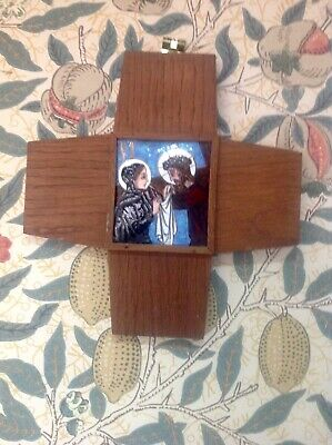 Antique Enamelled Arts & Crafts Style Stations Of The Cross Cross Wall Plaque,6.