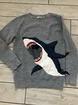 FAT FACE Boys Kids Soft Grey Shark Knitted Jumper Age 12-13 Years