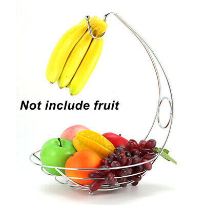 Metal Wire Fruit Basket Banana Grapes Hook Hanger Tree Holder Rack 2 In 1