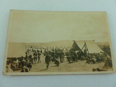 Pre WWl Real Photo Postcard Of US Army Troops At Tent Encampment ((Unposted) #2